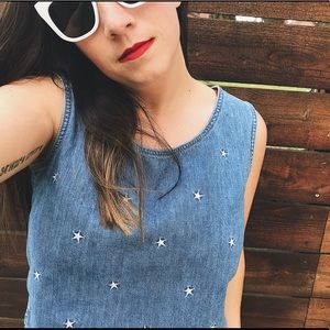 VINTAGE Lizwear denim crop tank with white stars